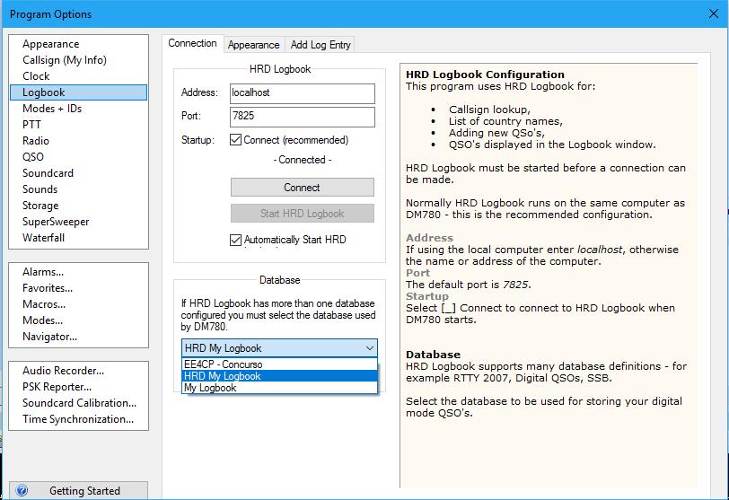 Escoger diferentes bases de datos (indicativos) en modos digitales - HRD